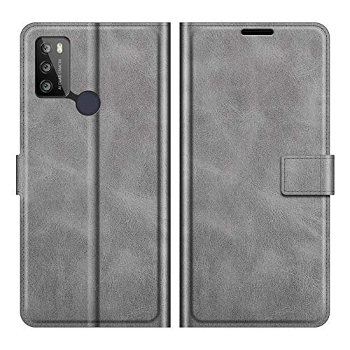 DAMAIJIA für Alcatel 1S 2021 Hüllen Klapphülle PU Leder Silikon Wallet Schutzhülle Schutz Mobiltelefon Flip Back Cover für Alcatel 3L 2021 Tasche Handy Zubehör (Grey)