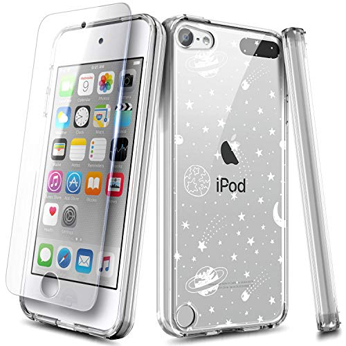 NZND iPod Touch 7 Case, iPod Touch 5/6 Case with Screen Protector, Ultra Slim, Anti-Scratch Shockproof Hard PC Back with TPU Bumper Protective Cover for iPod Touch 7th/6th/5th Generation -Universe