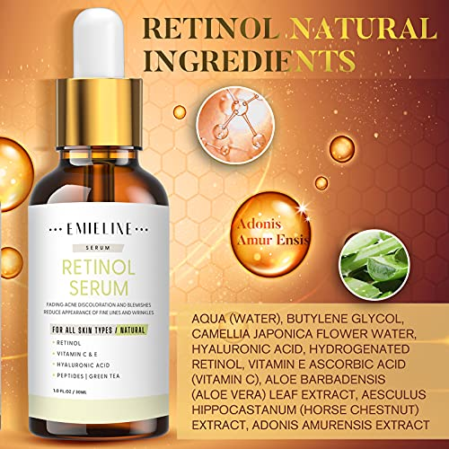 51H5Y14qK0L. SL500  - Emieline Anti Aging Serum, Vitamin C Serum, Retinol Serum, Hyaluronic Acid Serum, Face Serum Set Natural Organic with Apply to Brightening, Anti Wrinkle, Dark Spot Corrector for Face, Moisturizing
