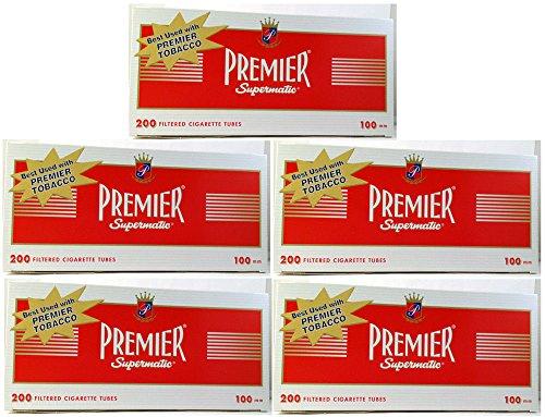 (5) Five Boxes of Premier Full Flavor - 100mm Cigarette Tubes by Premier