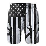 YOIGNG Boardshorts American Flag with Machine Guns Men's Quick Dry Swim Trunks Beach Shorts White