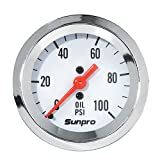 Sunpro CP8206 StyleLine Mechanical Oil Pressure Gauge - White Dial