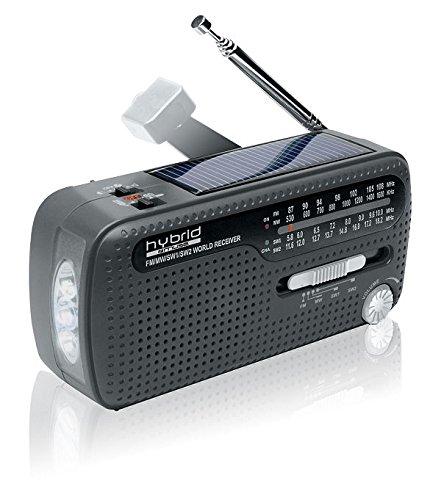 Muse MH-07DS tragbares Kurbel-Radio, Weltempfänger mit Taschenlampe und Solar-Ladefunktion (Dynamo, Handy-Lader, Solar, USB, Mini-USB)