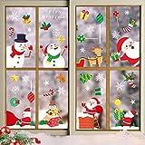15 hojas de pegatinas de ventana de Navidad, pegatinas de ventana con copos de nieve, Papá Noel,...