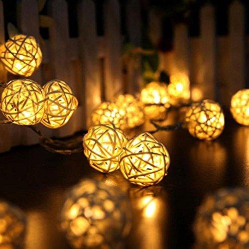 Fligatto 10 pcs Warm White Mini Wicker LED Color Rattan Ball String Fairy Lights decoration For Xmas Wedding Party (Beige)