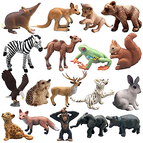 Gogmooi Woodland Animals  18 Pcs Animal Figures Miniature Playset Cake Toppers Birthday Gift Plastic Animals