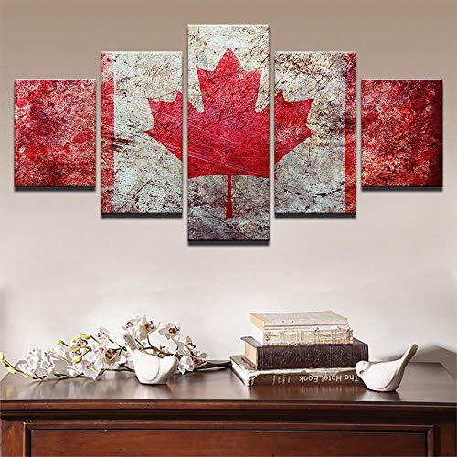 VGFGI Flagge von Kanada KanadaRetro HD Leinwand Kunstdruck GemäldeLeben Raum Wanddekoration5 dekorative Bilder modular