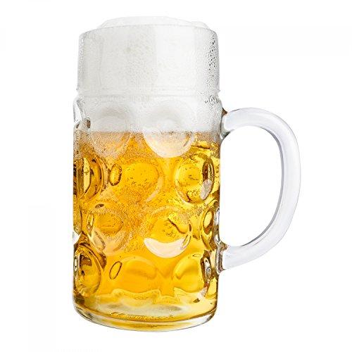 Van Well Maßkrug 1 Liter geeicht | großer Bierkrug mit Henkel | Bierglas spülmaschinenfest perfekt geeignet für Gastronomie