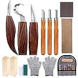 Holz-Schnitzwerkzeug Set, 14 Teiliges Holz Schnitzmesser mit Schleifsteine, Professional...