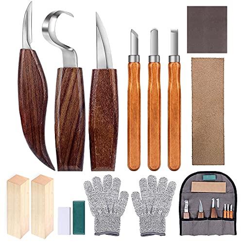 Holz-Schnitzwerkzeug Set, 14 Teiliges Holz Schnitzmesser mit Schleifsteine, Professional Holzschnitzerei Messer Werkzeuge ideales Schnitzmesser-Set für Anfänger und Profis mit Schnittfeste Handschuhe
