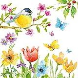 Home Collection Casa Cucina Decorazione Accessori Set 40 Tovaglioli Monouso Carta 3 veli 33 x 33 cm Motivo Primavera Uccelli Farfalle
