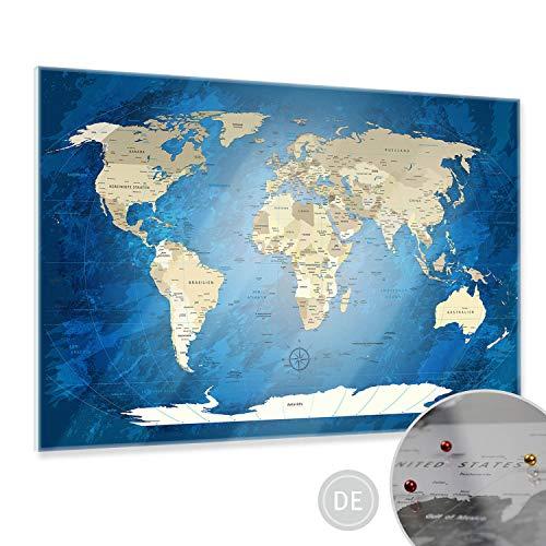 LANA KK - Weltkarte Pinnwand, magnetisches Glasbild Worldmap Blue Ocean in deutsch - edler Glas-Kunstdruck in blau – zum pinnen von Reise-Zielen