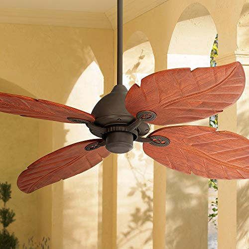"""60"""" Oak Creek Tropical Rustic Country Cottage Large Outdoor Ceiling Fan Oil Rubbed Bronze Brown Walnut Wood Leaves Damp Rated for Patio Exterior House Porch Gazebo Garage Barn - Casa Vieja"""