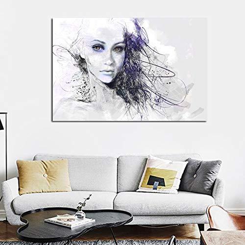 T-YIFUZX DIY Pintar por números Sin Marco Hombre Blanco y Negro Sexo Chica Ojos Grandes Mural Ojos Grandes Chica Arte Pop 40x50cm