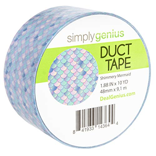 Simply Genius (Single Roll) Patterned Duct Tape Roll Craft Supplies for Kids Adults Colored Duct Tape Colors, Shimmery Mermaids