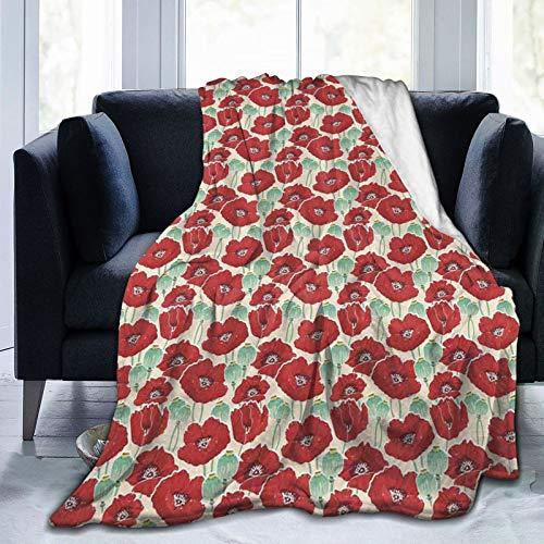 Judascepeda Ultraweiche Micro Fleece Decke,Frühlingsgartenmuster mit roten Blüten-Samenkapseln und kleinen Punkten, Home Decor Warmwurfdecke für Couchbett 50