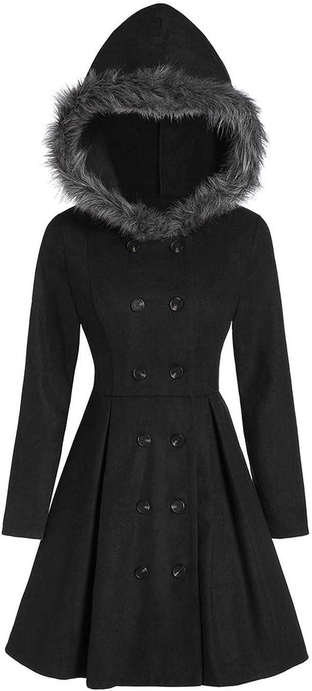 Women Double Breast Trenchcoat Jacket Hooded Coat Winter Faux Fur Outwear Jackets