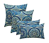 "Indoor Outdoor Set of 4 (2-17""x17"" Square and 20""x12"") Decorative Lumbar Toss Throw Pillow Weather Resistant – Wheel Indigo – Blue, Ivory, Large Sundial"