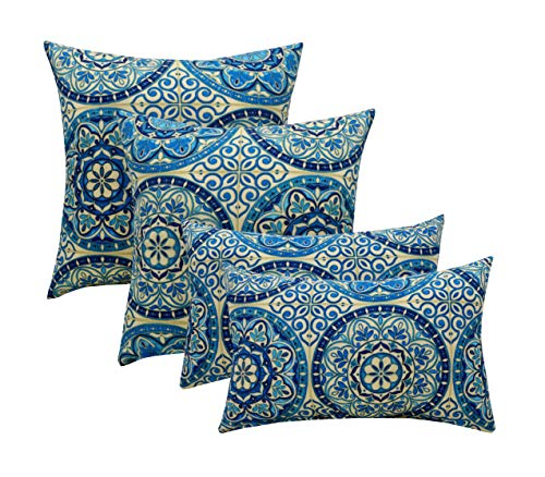 """Indoor Outdoor Set of 4 (2-17""""x17"""" Square and 20""""x12"""") Decorative Lumbar Toss Throw Pillow Weather Resistant – Wheel Indigo – Blue, Ivory, Large Sundial"""