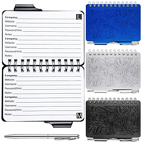3 Libretas Portátiles de Contraseñas Cuaderno Organizador de Guarda de Contraseñas con Patrón de Mandala de Colores Cuaderno Encuadernado en Espiral con Bolígrafo, Negro, Azul, Plata