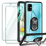 ivencase Funda Compatible con Samsung Galaxy A71, 2 Pack Cristal Templado, Transparente Airbag Anti-Choque Protector Carcasa con 360 Grados Imán Soporte Silicona Bumper Case, Negro