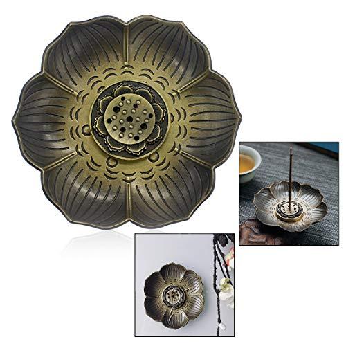 Xrten Lotus Bronze Räucherstäbchenhalter,Vintage Neun Loch Typ Design Räucherstäbchenhalter