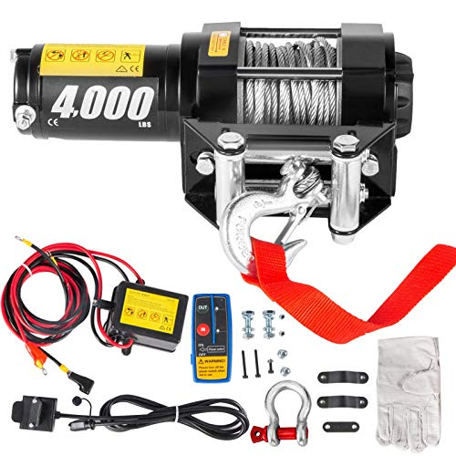 CXRCY 12V 4000LBS Electric Winch Kits with 3/16'(4.7mm) Diameter x 32.8'(10m) Length Steel Rope ATV/UTV Winch for Towing Off Road Trailer with Wireless Remote Control and Mounting Bracket