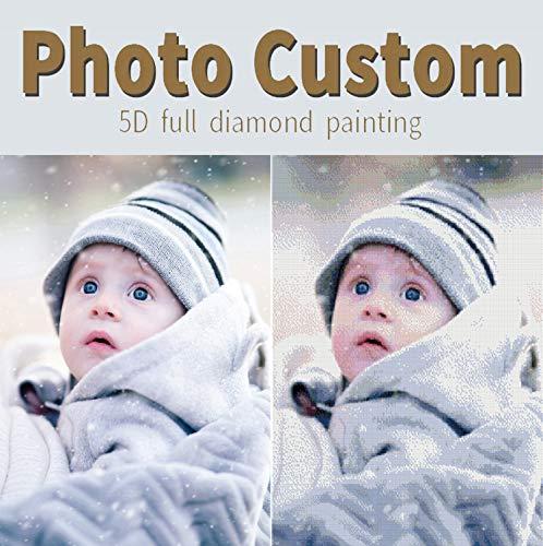 Pintura personalizada de diamante de encargo de la foto privada 5D kits de pintura de diamante para adultos taladro redondo completo DIY Rhinestone diamante artes fotos regalos artesanía 35x45