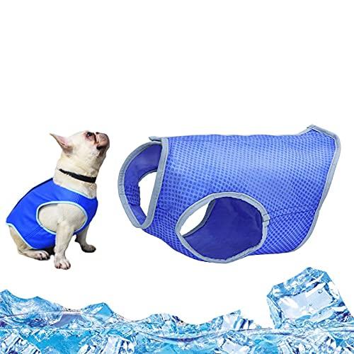 Chaleco de Refrigeración para Perro, Chaleco Refrescante Perro, Mascotas de Refrigeración del Chaleco, Dog Cooling Vest, Dog Cooling Jacket,Chaleco Enfriador de Mascotas con Cinta Mágica(azul) (S)