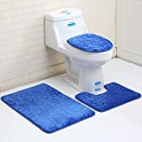 Juego de 3 alfombras de baño con patrón de tela de terciopelo antideslizante, juego de 2 piezas, azul profundo