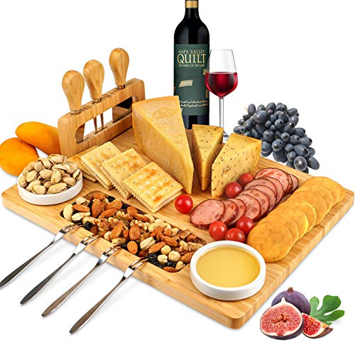 ROYAMY Bamboo Cheese Board Set with 3 Stainless Steel Knife, Meat Charcuterie Platter Serving Tray, Perfect Choice for Wedding Birthdays Party Anniversary Housewarming Gift