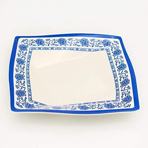 YAeele Placa Creativa Vajilla La Plaza del Diamante Porcelana Azul y Blanca de la Placa de la mañana de té de Comidas Home Plate vajilla de Cocina Azul 9 Pulgadas Fácil de Limpiar