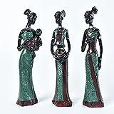 """3 Pack Escultura Africana,7.5"""" Figura de Mujer Dama Tribal Estatua Decoración Coleccionable Pieza de..."""