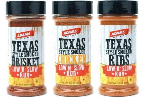 Adams Seasoning Rubs Texas Style Smoked Low & Slow Gourmet Rubs Set - Brisket, Ribs, & Chicken BBQ Rub Seasonings
