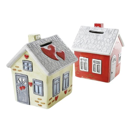 Spardose Keramik Haus - Richtfest Einzug rot/grau creme/grau  mit Schloss 9x9x12cm