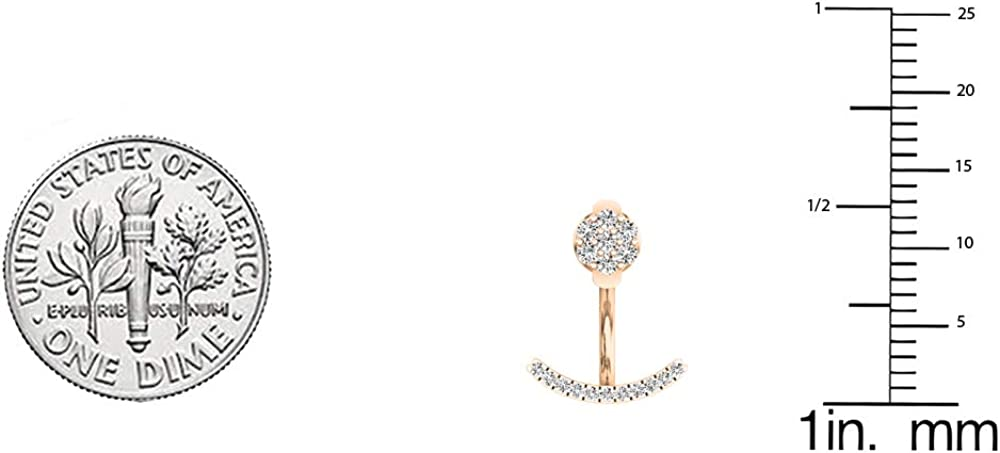 10K Gold Round White Diamond Pendulum Stud Earring Jackets 1//4 CT ctw Dazzlingrock Collection 0.25 Carat