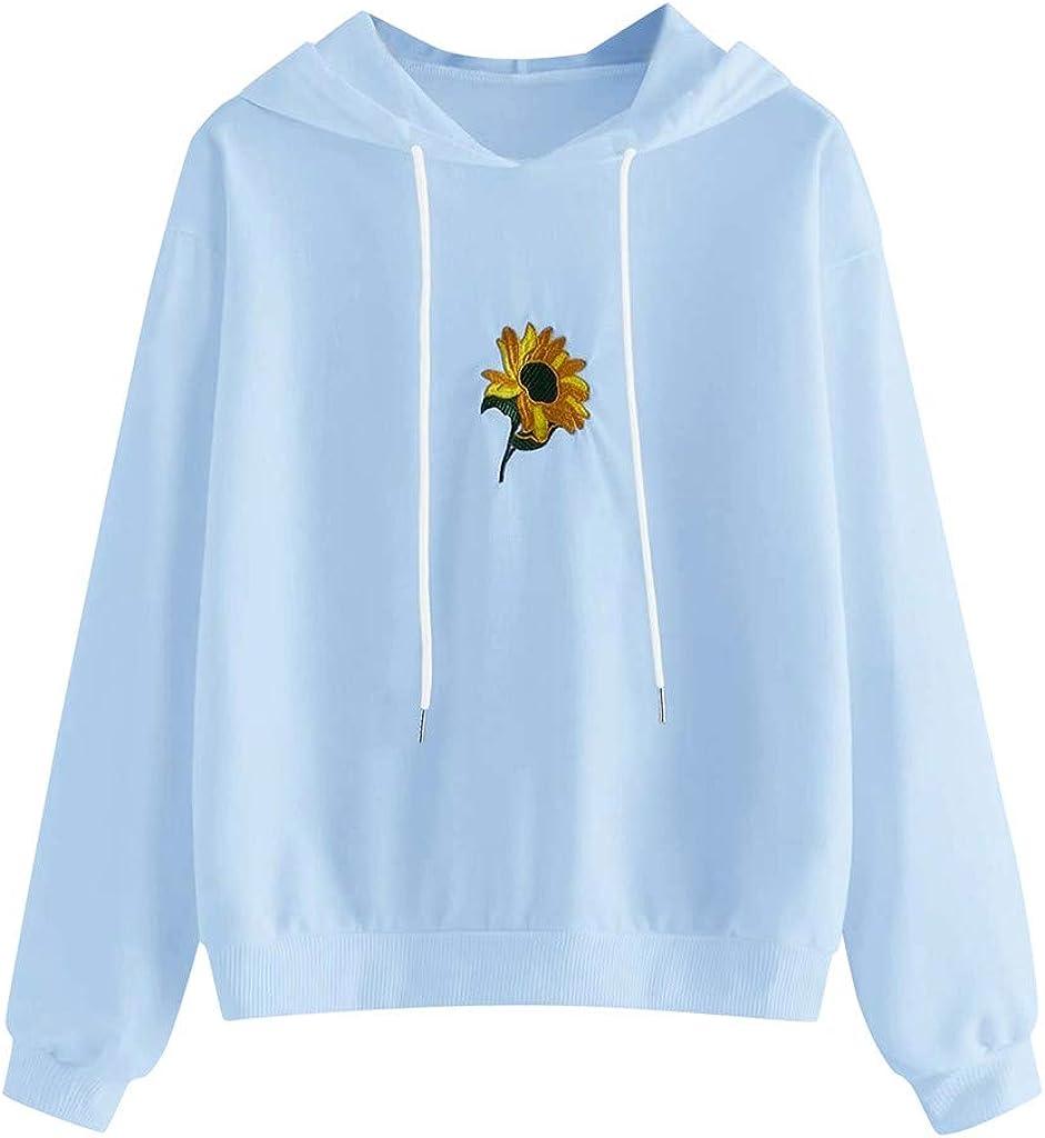 Aniwood Hoodies for Women Pullover Teen Girls Hoodies Crop Top Long Sleeve Hooded Pullover Sunflower Print Sweatshirts