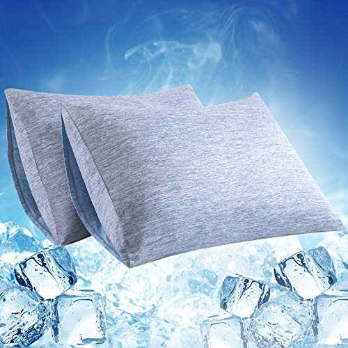 LUXEAR Pillowcase, 2 Pack Envelope Closure Cooling Pillowcases with Double-Side Design [Arc-Chill Cooling & Cotton Fiber], Anti-Static, Skin-Friendly, Machine Washable Pillow Cases (20x26 in)-Blue
