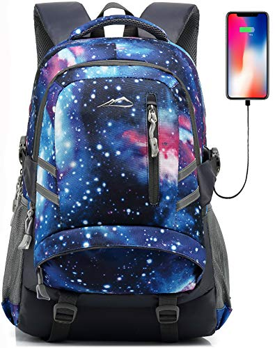 Galaxy Backpack Bookbag for School College Student Travel Business with USB Charging Port Fit Laptop Up to 15.6 Inch Anti theft Night Light Reflective Chest Straps (Galaxy Blue A)