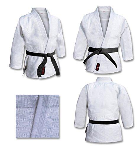 V-sports Traje de judo blanqueado uniforme de judo blanco, trajes de judo para niños, kimono de judo adulto. trajes de entrenamiento de judo blanco (4/170cm) Incluye cinturón blanco gratis