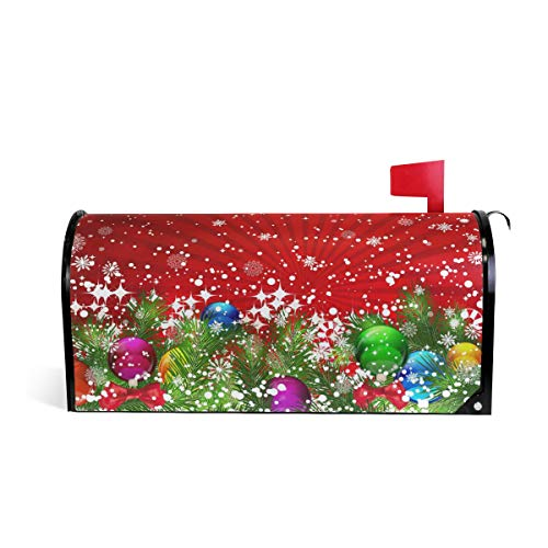 WOOR Christmas Tree Decoration and Snowflakes Magnetic Mailbox Cover Standard Size for Garden Yard Outdoor Decorations-18 x 20.8'