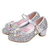 YING LAN Girl's Princess Cosplay Performance Shoes Sequins Dress Shoes Low Heeled Silver 27