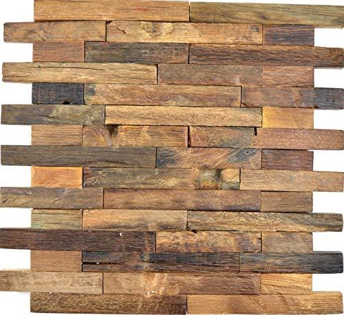 Holz Mosaik Verbund boot Old Wood Holz FSC Wand Küche Bad Fliesenspiegel|WB160-21|1Matte