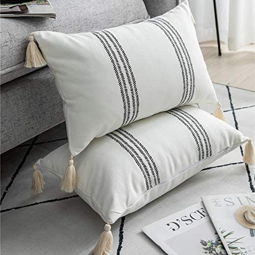 DEZENE Decorative Throw Pillow Covers for Couch Sofa Bed 2 Pack 100 Cotton Rectangle Lumbar product image