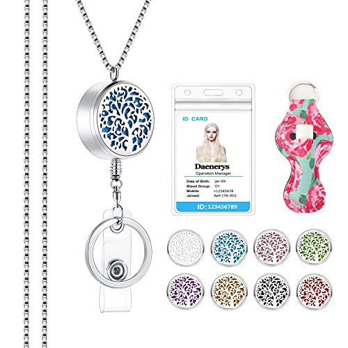 SAM & LORI Strong Lanyard Necklace Stainless Steel Beaded Chain Necklace Silver for ID Badge Holder and Key Chains Non Breakaway Pendant for Women Nurse Teacher (Retractable- Family Tree)