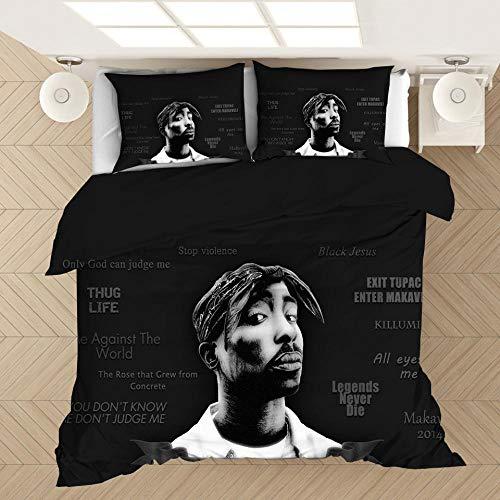 Tupac 2Pac ropa de cama con funda nórdica impresa rapero, cama individual suave y cómoda 3D cama doble para adultos y adolescentes edredón ropa de cama textiles para el hogar-B_180x210cm (3pcs)