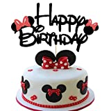Minnie Happy Birthday Cake Topper with Bow Tie Glitter Minnie Mouse First Birthday Two Three Four Five Six Years Old Birthday Minnie Themed Kids Girls Birthday Party Cake Supplies Decoration