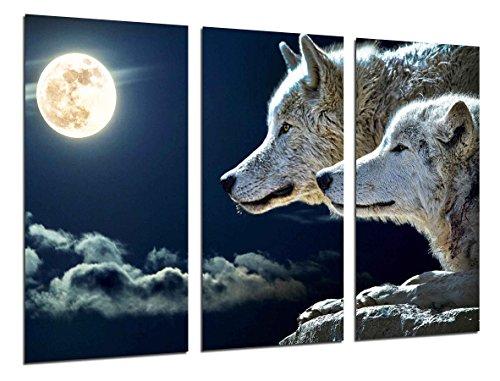 Poster Fotográfico Lobos con Luna Llena Tamaño total: 97 x 62 cm XXL