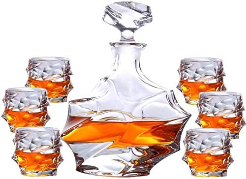 Wine Free shipping Ranking TOP5 on posting reviews Decanter Whiskey Set 7-Piece Glas Crystal