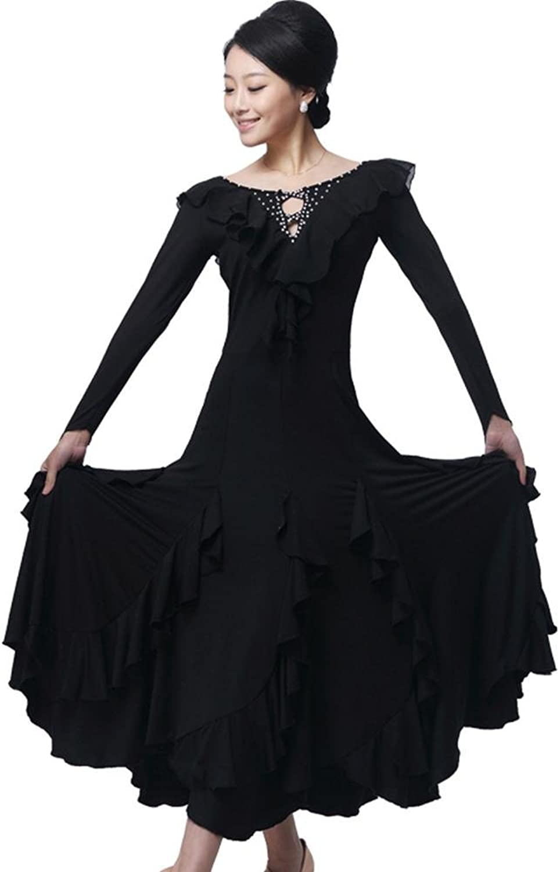 GBDSD Die Moderne Rcke und langrmelige Spitzenkragen Kleid Diamant Kelp groer Rock Walzer Gesellschaftstanz Rcke, XXXL, schwarz